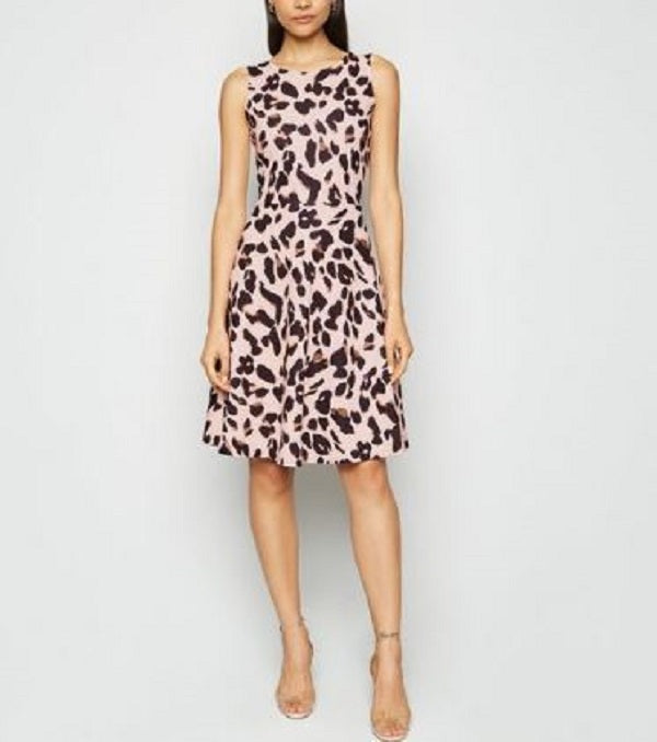 ANIMAL PRINT FIT AND FLARE MIDI DRESS