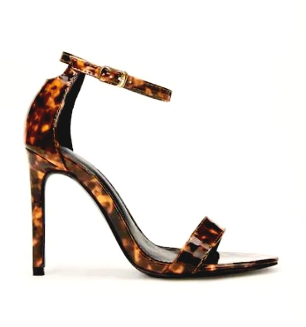 SPIKE HEELED TORTOISESHELL DETAILED ANKLE STRAP SANDALS