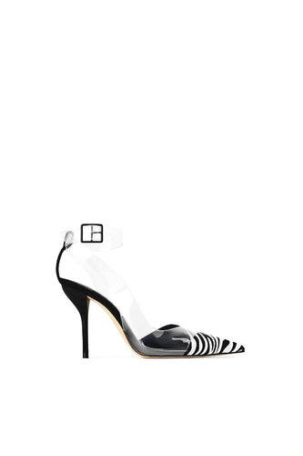 ANKLE STRAP STILETTO HEELED ZEBRA DETAILED PUMPS