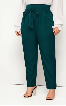 TIE-WAIST TAPERED LEG PANTS