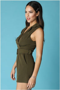 BELTED DOUBLE BREASTED KNOTCHED COLLAR ROMPER