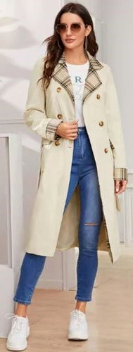 BELTED KNOTCHED LAPEL DOUBLE BREASTED TRENCH COAT