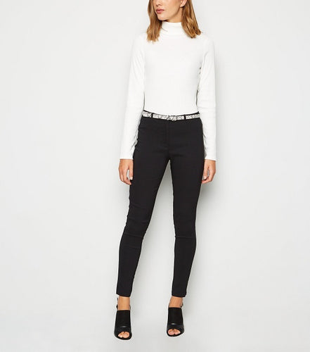 BELTED STRETCH DETAIL SKINNY PANTS