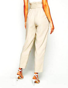 BELTED TAPERED PAPER BAG WAIST PANTS