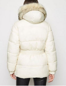 BELTED VEGAN FUR TRIM HOODED PUFFER COAT