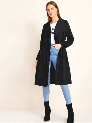 BELTED WIDE LAPEL MIDI TRENCH COAT