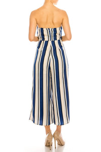 BOLD STRIPED TIE-FRONT STRAPLESS JUMPSUIT