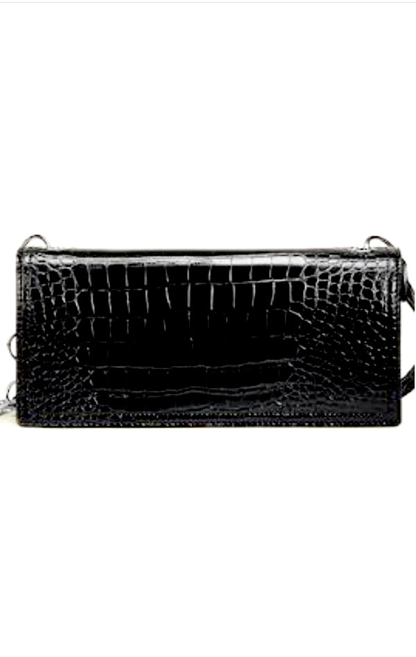 CHAIN STRAP VEGAN CROC CLUTCH BAG