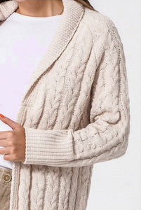 CHUNKY CABLE KNIT SHAWL COLLAR MIDI CARDIGAN SWEATER