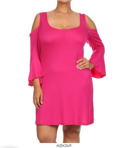 PLUS SIZE COLD SHOULDER BELL SLEEVE MIDI DRESS