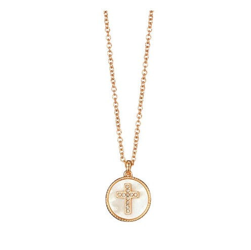 SIMULATED SHELL MOTIF CROSS NECKLACE