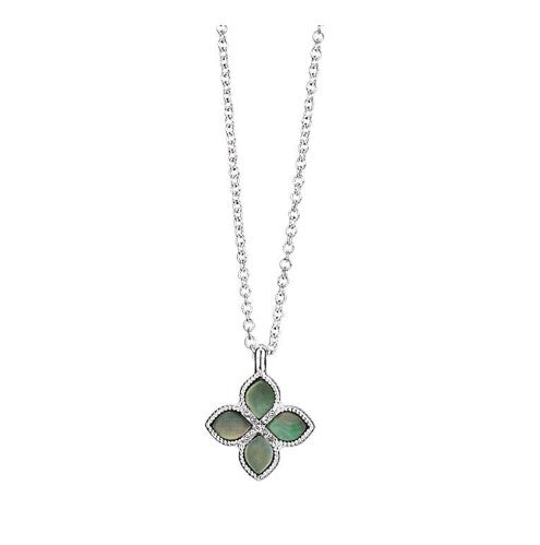 SIMULATED SHELL MOTIF FOUR LEAF CLOVER NECKLACE