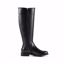 GENUINE LEATHER SIDE-ZIP RIDING BOOTS