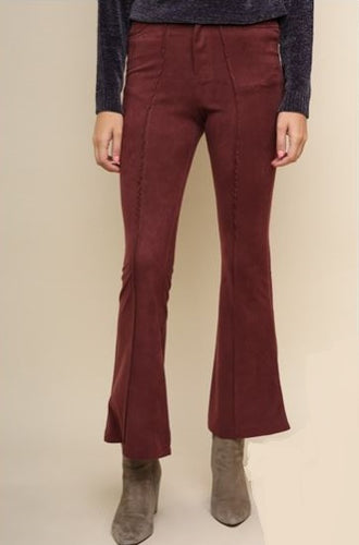 'HIGH-WATER' SEAMED FRONT SUEDE BELL BOTTOM PANTS