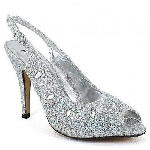 HIGH HEELED RHINESTONE EMBELLISHED PEEP TOE PUMPS