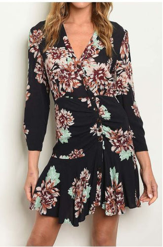 FLORAL ASYMETRICAL BUTTON FLUTTER BOTTOM DRESS