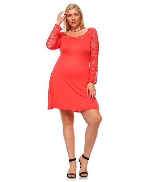 LONG SLEEVE LACE DETAILED PLUS SIZE DRESS