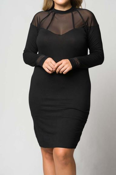HIGH NECK SHEER MESH SLEEVE DETAILED MIDI DRESS