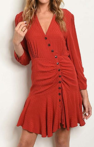 VNECK ASYMETRICAL BUTTON DETAIL FLUTTER BOTTOM DRESS