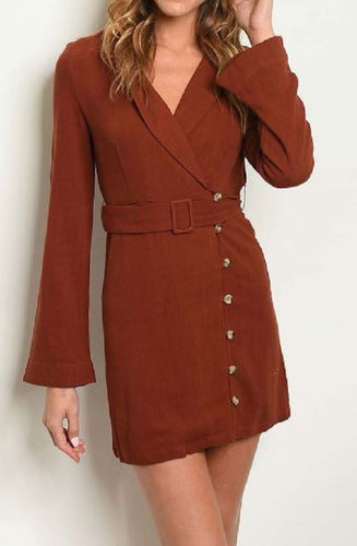 BELL SLEEVE ASYMETRICAL BUTTON DETAIL DRESS