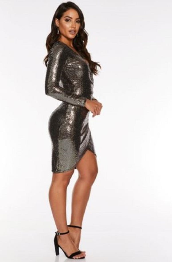 LONG SLEEVE VNECK SEQUIN WRAP DRESS