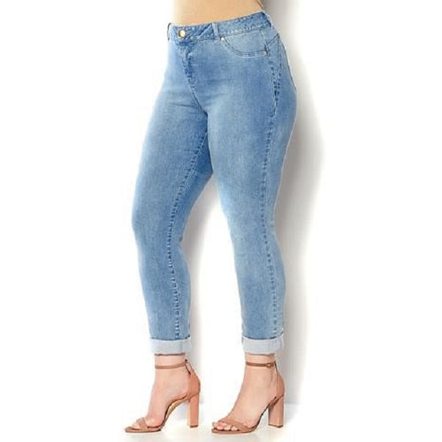PLUS SIZED FADED ROLL BOTTOM JEANS
