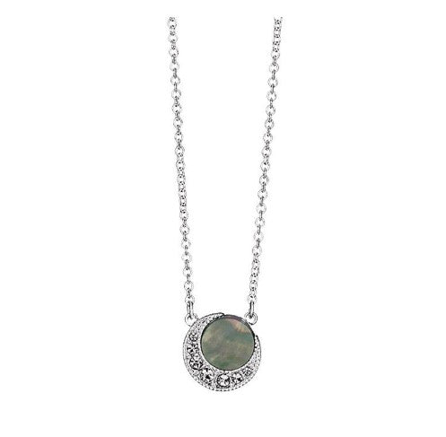 SIMULATED SHELL MOTIF MOON NECKLACE