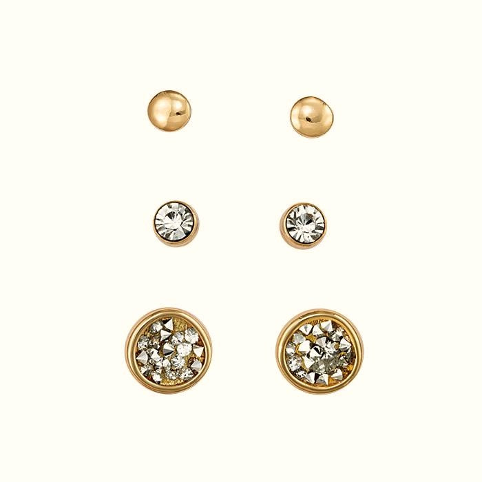 STUD METALLIC SPARKLE EARRING SET