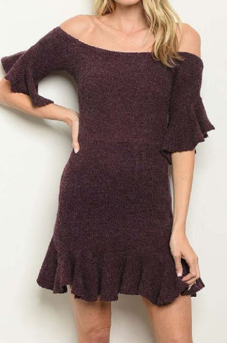 OFF SHOULDER RUFFLE DETAILED KNIT DRESS