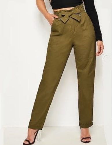 PAPER BAG WAIST CUFFED STRAIGHT LEG PANTS