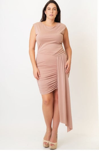 PLUS SIZE BODYCON DRAPE DETAILED DRESS
