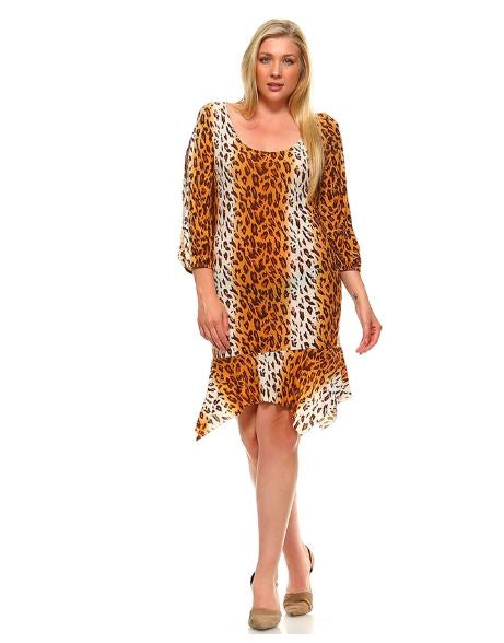 PLUS SIZE SLIT SLEEVE LEOPARD PRINT ASYMETRICAL DRESS