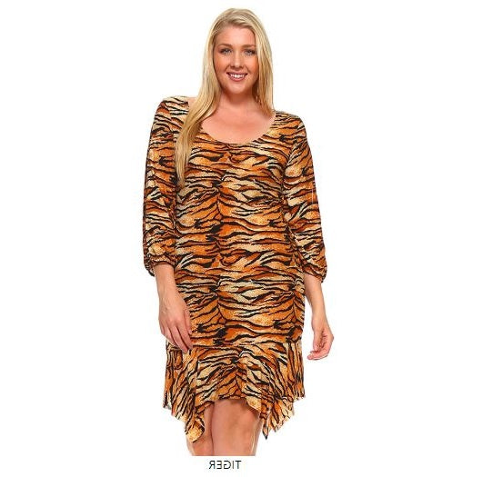 PLUS SIZE SCOUP NECK ASYMETRICAL HEM TIGER STRIPE DRESS