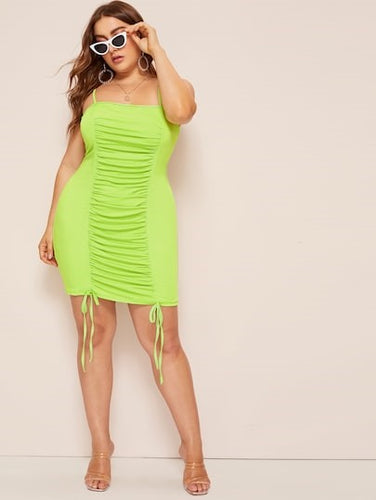 PLUS SIZE ROUCHED FRONT NEON CAMI DRESS