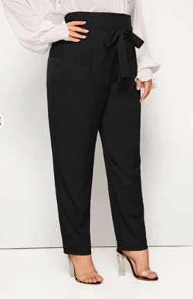 PLUS SIZE TIE-WAIST PEG LEG PANTS