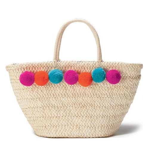 POM POM DETAILED WOVEN STRAW TOTE BAG