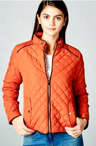 SUEDE PIPING TRIMMED QUILTED JACKET