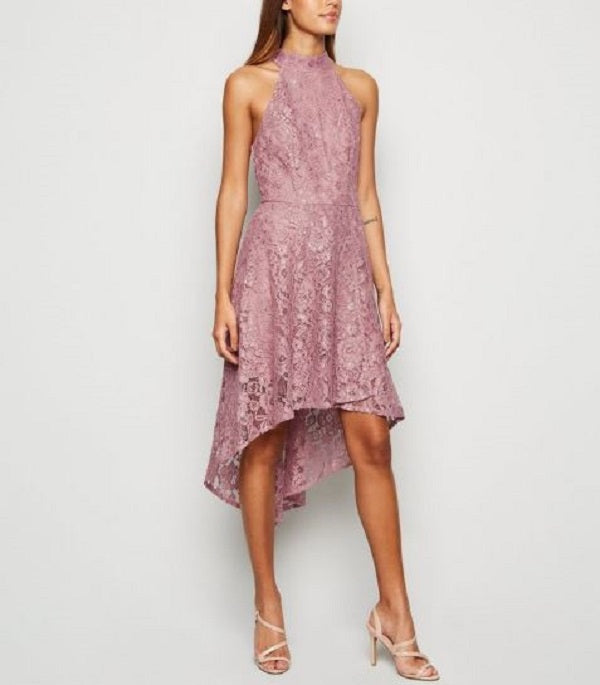 RACERBACK ASYMETRICAL LACE MIDI DRESS
