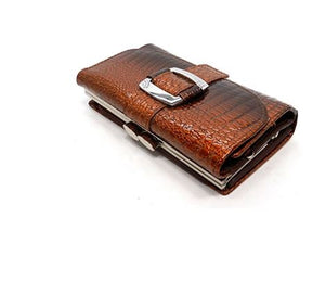 REAL LEATHER TRI-FOLD CROC EMBOSSED WALLET