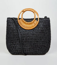 RING HANDLE WOVEN STRAW TOTE BAG