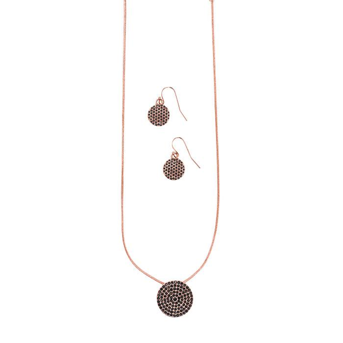 ROSE AND JET PAV'E DISC NECKLACE AND EARRINGS SET