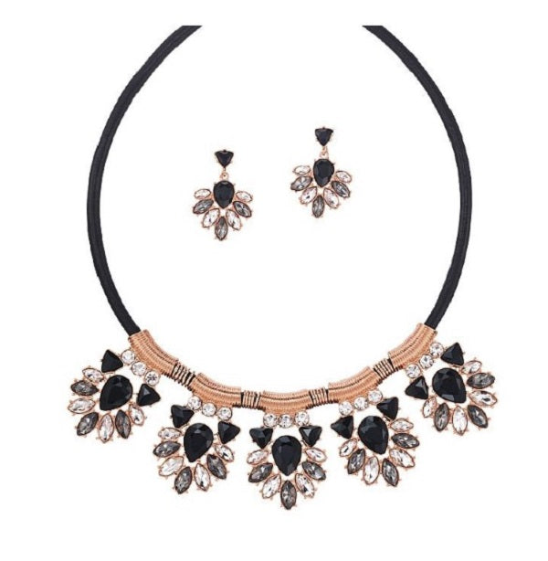 ROSE AND JET STATEMENT NECKLACE AND EARRING SET