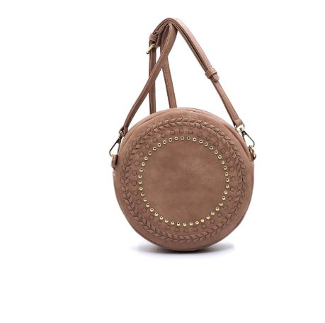 ROUND STUD EMBELLISHED VEGAN SUEDE CROSSBODY BAG