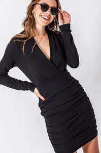 RUCHED LONG SLEEVE VNECK BODYCON DRESS