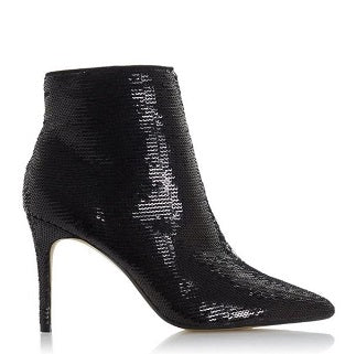 SEQUIN STILETTO HEELED POINTED TOE ANKLE BOOTIES