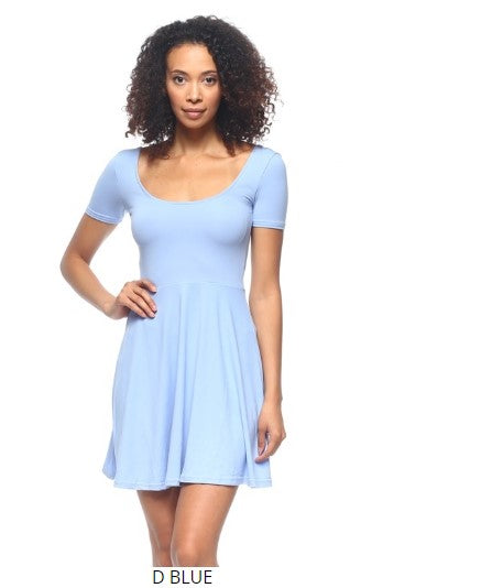SHORT SLEEVE SCOOP NECK FIT-AND-FLARE DRESS