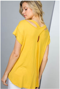 SHORT SLEEVE CRISS-CROSS BACK DETAILED TOP