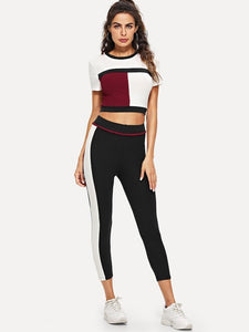 SHORT SLEEVE CROP TOP ACTIVEWEAR SET