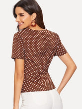 SHORT SLEEVE POLKA DOT CROP TOP