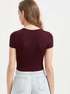 SHORT SLEEVE RIBBED KNIT CROP TOP
